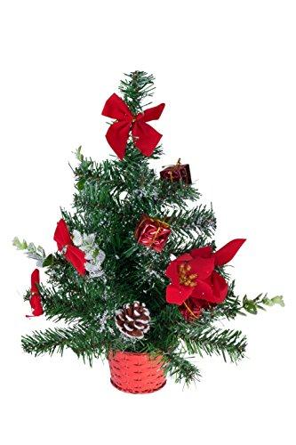 Clever Creations - Albero di Natale da Tavolo con Decorazioni - Stelle di Natale e Regali - Decorazioni infrangibili in Verde e Rosso - Altezza 45,5 cm - Verde, Rosso