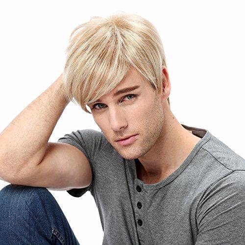STfantasy Herren-Perücke, blond, mehrfarbig, kurz, gerade, für Männer, schick, Anime-Kostüm, Cosplay, alltäglicher Gebrauch Men Wigs
