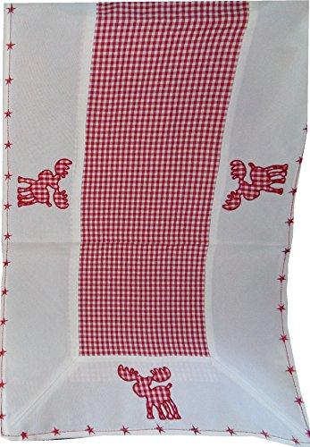 (Textilserie Weihnachten Karo Rot Elch Auswahl Decke, Kissen Scheibengardine oder Tischläufer, Variante:Tischläufer 40x140)