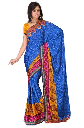 Poly Silk crepe jacquard printed saree with attached lace border