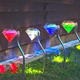 4 x Babz shop Solar de acero inoxidable jardín de diamante de luz - LED que cambia de color