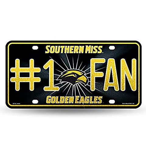Rico 1 Ncaa Southern Mississippi Golden Eagles Bling #1 Fan Metal Auto Tag, Black/Yellow, 12