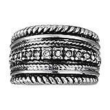 BELLE MISS - Bague élastique métal argenté Vieilli avec Cristal Blanc