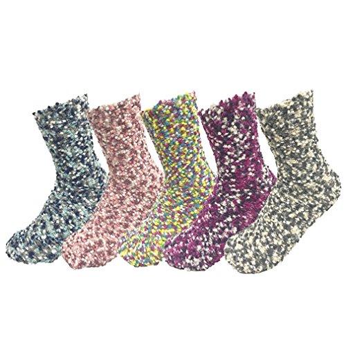 Z-Chen Pack de 5 pares de calcetines para dormir Mujer Térmicos Invierno