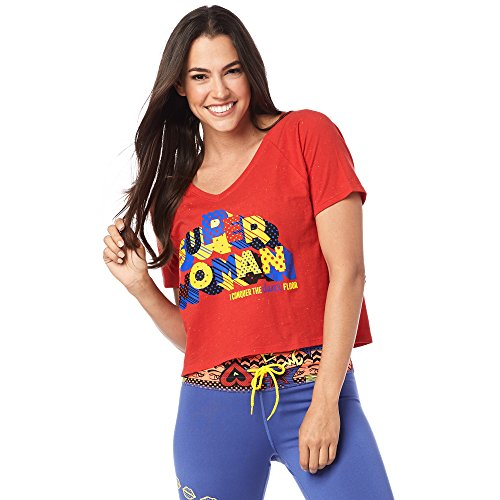Zumba las Mujeres de la Super Mujer tee, Mujer, Color Well Red, tamaño X-Large