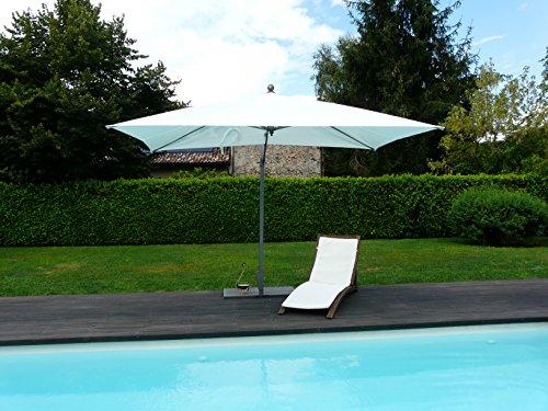 Maffei Art 167R Pool. Parasol deporté, rectangulaire cm 200x300, Tissu batyline ombragé, Ouverture brevetée, EXCLUSIVITE, Made in Italy. Couleur Blanc.
