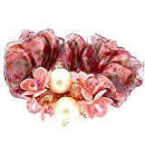 # 434Modeschmuck Elastic Haargummis verstellbar Pink Blumen Perlen Muster Haar-Accessoires für Mädchen
