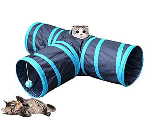 Longwu Pet Fun Collapsible 3 Way Cat Tube Play Toy With Crinkle Crackle Paper for