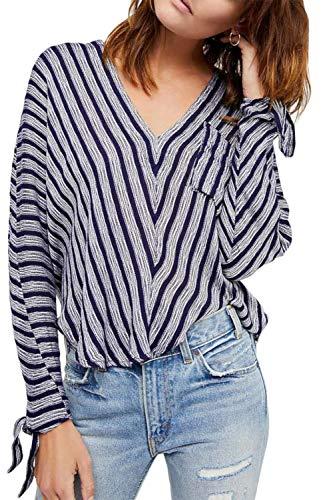 Free People Women's Morning Stripe Dolman-Sleeve Top Blue Small - Dolman Sleeve-wrap