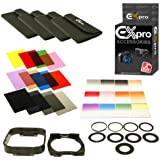 Ex-Pro 24 Square Coloured/Graduated Filter set, 9 Adapter rings 49 to 82mm, with Ring filter and Hood for Cokin P-Series filter holder LF78