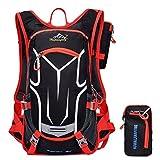Erwachsene Fahrradrucksack 18L Ultraleicht Trinkrucksack Reiserucksack Sportrucksack MTB-Reiten Rucksack Tagesrucksack mit Rucksack Regenschutz Outdoor,Rote