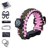 Vogvigo, braccialetto con kit di sopravvivenza 7in 1, multifunzionale, braccialetto in paracord per la sopravvivenza, con kit di attrezzi emergenza Pink