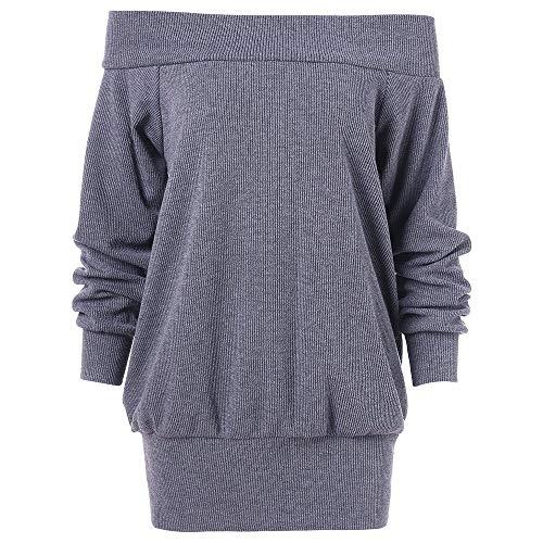 Gaodaweian Frauen Sexy Baggy Off Schulter Laterne Langarm Lässige Herbst Sweatshirt Jumper Tops Weg Von Der Schulter Tunika Strickwaren (Size : L)