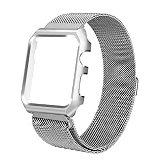 azerogo for Apple Watch Bands 42mm Milanese Loop Stainless Steel Replacement Bracelet Strap for iWatch with Protective Case for Apple Watch Series 2, Series 1 Silver 42mm