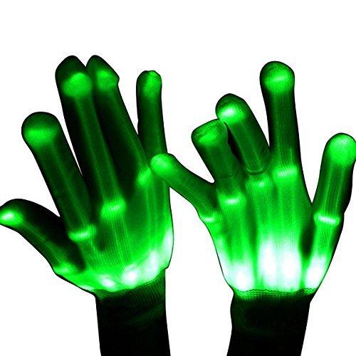r ab 4 - 10 Jahre, DMbaby Geschenke für Mädchen Jungs LED Blinklicht Bunte Rave Party Handschuhe Grün G12 (Leicht Gemacht Halloween Kostüme)