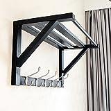 LOFTfan kleiderständer Garderobe Wandaufhänger, Bambus Wand Vitrinen, Küchenschränke Badezimmerwand Kleiderbügel Garderobe hutablage (Farbe : A)