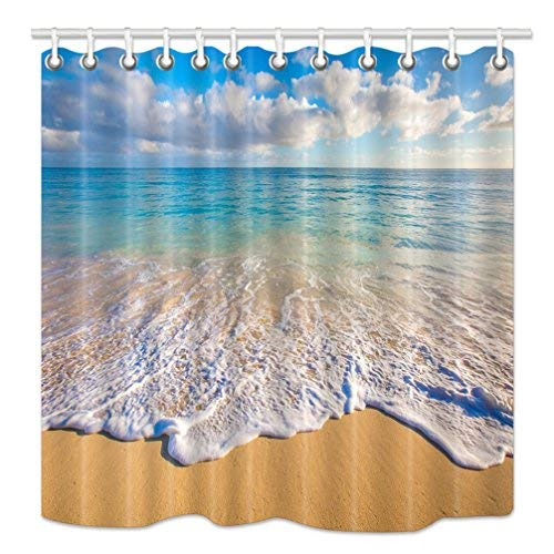 (hnmq Tropical Ocean Vorhang für die Dusche, Strand und Wellen bei Sonnenaufgang, Sonne auf Meer, Upgrades Schimmelresistent Stoff Badezimmer Dekorationen, Bad Vorhänge Haken enthalten, 175,3x 177,8cm)