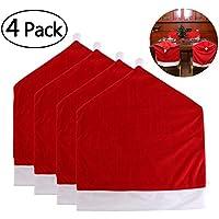 PIXNOR Weihnachten Decorations, Weihnachten stuhlhussen Set von 4 Weihnachtsmann Red Hat Stuhl zurück Abdeckungen für Weihnachtsfeiertags-Party Festliche Dekoration