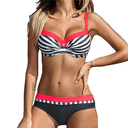 fd1a9dd4fb Bañador Mujer Push Up Bikini Trajes de baño Halter Acolchado Traje de baño  2 Piezas Ropa
