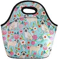Preisvergleich für coloranimal Isolierte Lunch Tasche Cute Floral Faultier wiederverwendbar Neopren Kühltasche Bulldog Floral