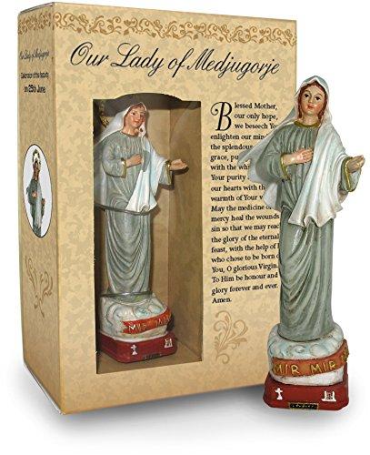 Ferrari & Arrighetti Estatua Virgen de Medjugorje de 12 cm con Caja de Regalo y marcapáginas (en INGLÉS)