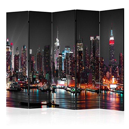 murando - Biombo con Tablero de Corcho Nueva York 225x172 cm - de impresión Bilateral en el Lienzo de TNT Foto Biombo Decorativo para Interiores Ciudad New York d-B-0185-z-c