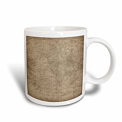 3dRose An Antique Map of The World in Brown Magic Transforming Mug, 11-Ounce (Kunst Küche 11 Cup)