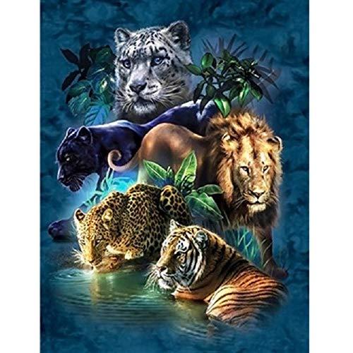 TWYYDP Puzzel Für Erwachsene Holzpuzzle Tier Leopard Löwe Tiger Familiensammlung Kunstwerk -