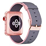 Yichan Woven Nylon Fabric Wrist Strap Replacement Band with Classic Square Stainless Steel Buckle for Apple Watch iWatch Series 1 / 2
