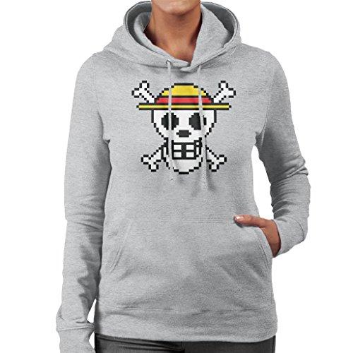 Straw Hat Skull And Cross Bones Pixel One Piece Women's Hooded Sweatshirt