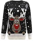 DONNA UOMO DONNA UNISEX Maglione natalizio largo maglione Natale 3D GADGET STAR WARS YODA SCURO Vader ELFO RENNA rétro MAGLIONE VINTAGE 70 - SMILLY Rudolph Nero, UK SIZE 16-18