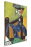 CANVAS IT UP Kubismus Frau sitzt in Einem Stuhl von Pablo Picasso gerahmtes Ölgemälde auf Leinwand, Prints Deco Bilder Größe: A1–86,4x 61cm (86cm x 60cm)