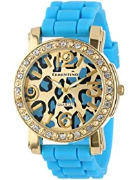 Cerentino Women's CR105-TQ  Turquoise Silicone Rubber Leopard Print Dial Watch