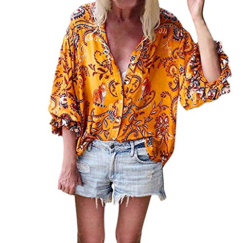 Damen Sommer Blusen Beach Tops Damen Button V-Ausschnitt Blumendruck Tops Rüschen Cap Sleeve Sommer Shirt Blusen - Sleeve Flag Shirt