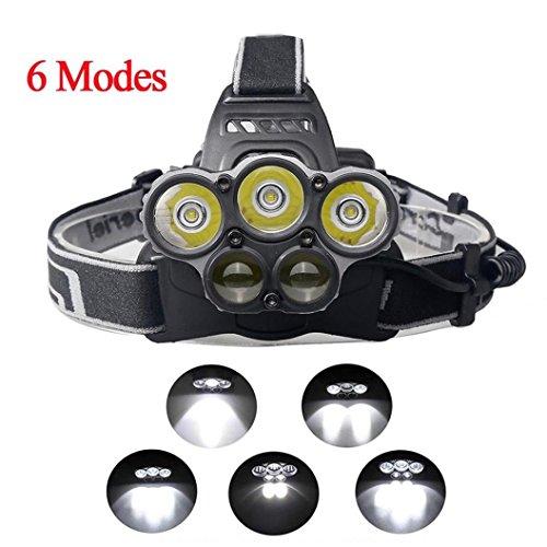 SOMESUN 6 Modes Imperméable Lumière Forte Lampe Frontale 30000LM 5x XM-L T6 LED Confortable Zoomable Lampe Frontale Lumière de la tête Lampe de Poche