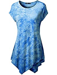 Ninimour Camiseta Casual de Falda Irregular de Manga Corta para Mujer