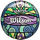 Wilson Ballon de Beach-volley, Extérieur, Utilisation Récréative, Taille Officielle, GRAFFITI, Multicolore (Violet/Bleu/Vert/Jaune), WTH4637XB
