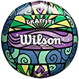 Wilson Beach Volleyball, Outdoor, Freizeitspieler, Mini-Ball, GRAFFITI MINI, Lila/Blau/Grün, WTH4112XB