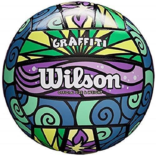 Wilson Beach Volleyball, Outdoor, Freizeitspieler, Offizielle Größe, GRAFFITI, Lila/Blau/Grün, WTH4637XB