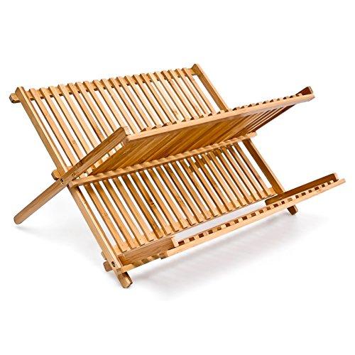 Relaxdays Abtropfgestell CROSS HBT 24,5 x 42 x 33 cm Abtropfgitter Bambus klappbar Geschirrabtropfer für Teller und Tassen als Geschirr Abtropfkorb und Holz Geschirrkorb mit Bestecksammler, natur