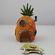 Casa De Piña Adorno de Acuario Decoración paisajismo dibujos animados Home agujeros de escape Mini