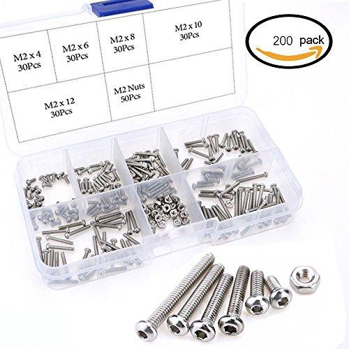 Edelstahl Inbus Sechskant-Antrieb Button Head Socket Cap Schrauben Schrauben Muttern Sortiment Kit (M2)