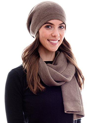 Hilltop Conjunto de invierno compuesto por bufanda de invierno y gorro de punto a juego/beanie con pompón, conjunto de invierno:olive
