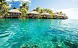 FORWALL Fototapete Vlies Tapete Moderne Wanddeko Malediven - Häuser und Ozean VEXL (208cm. x 146cm.) AMF10228VEXL
