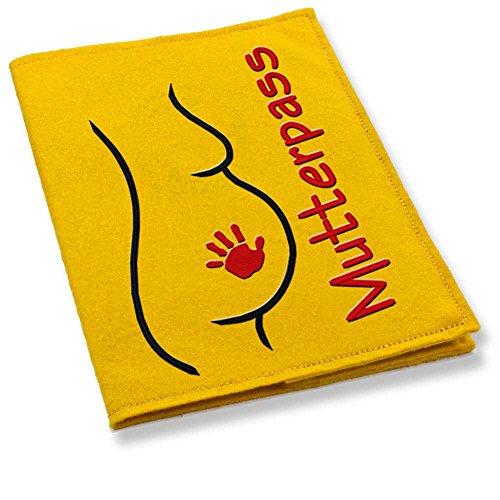 gelbe mutterpass hülle mit babybauch handabdruck