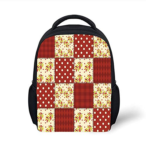 Kids School Backpack Cabin Decor,Patchwork Autumn Pattern with Sycamore Leaves Polka Dots Old Fashioned Print Decorative,Multicolor Plain Bookbag Travel Daypack -