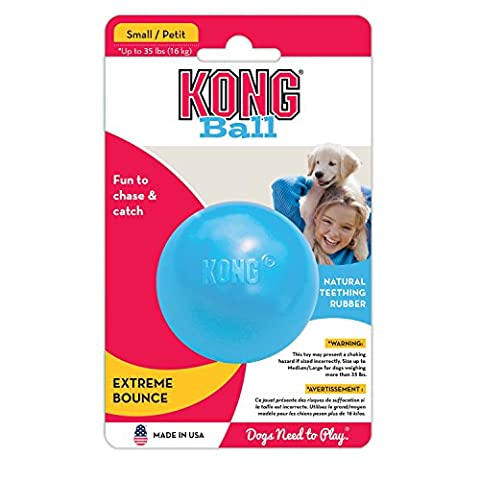 KONG Puppy Ball with Hole Natural Rubber Formula Chewable Dog Toy Pink Small