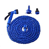 DZTIZI Garden Hose Pipe Water Hose 3 Times Expendable Water Pipe With 7 Function Spray Gun For Garden, Plants, Cars Cleaning, Pets Shower,Green,Blue-250FT/75m
