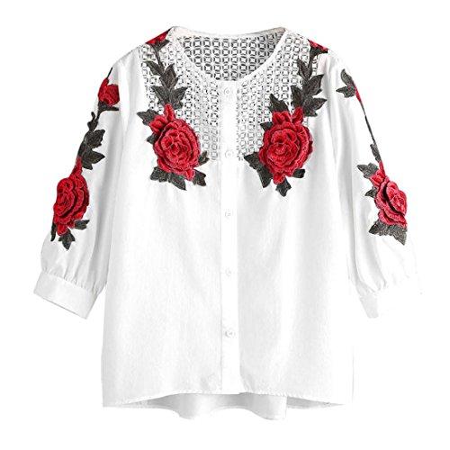 Longra Damen Herbst langes Hülsen T-Shirt gesticktes Hemd beiläufige Blusen-Oberseiten Tops (XL, White) (Belted Gestickte Shorts)