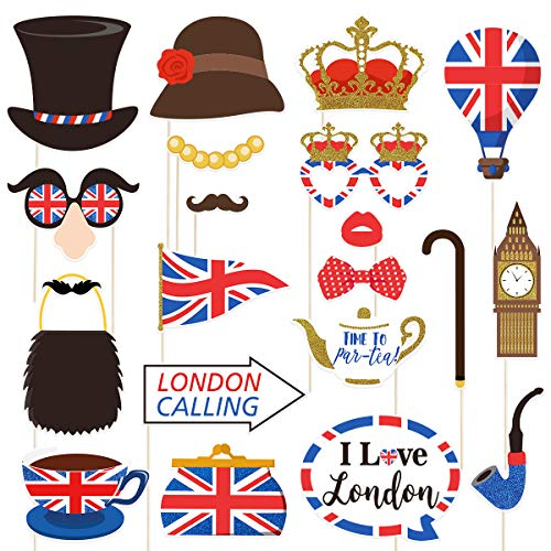 Amosfun 20 stücke Britische Flagge Photo Booth Requisiten Britische London Thema Ausschnitte National Day Party Favors für British National Day Festival Party Dekoration